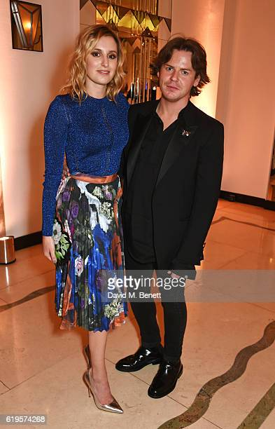 Presenters Laura Carmichael and Christopher Kane attend the Harper's Bazaar Women of the Year Awards 2016 at Claridge's Hotel on October 31 2016 in...