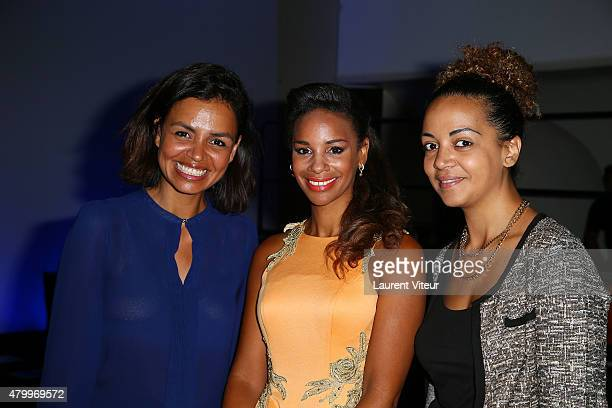 TV presenters Laurence Roustandjee Alicia Fall and Audrey Roustandjee attend the Danny Atrache show as part of Paris Fashion Week Haute Couture...