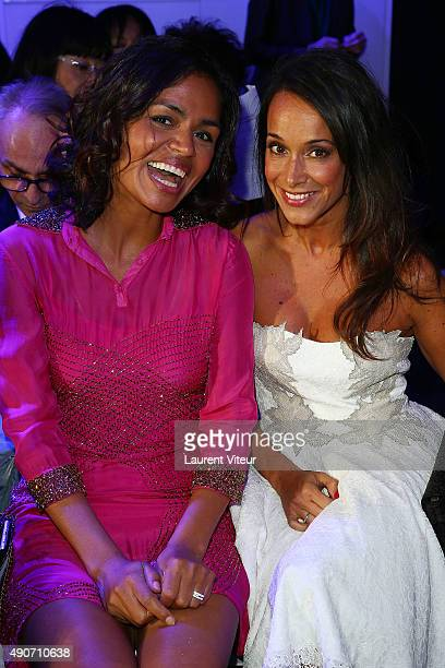 Presenters Laurence Roustandjee and Karine Lima attend the Christophe Guillarme show as part of the Paris Fashion Week Womenswear Spring/Summer 2016...