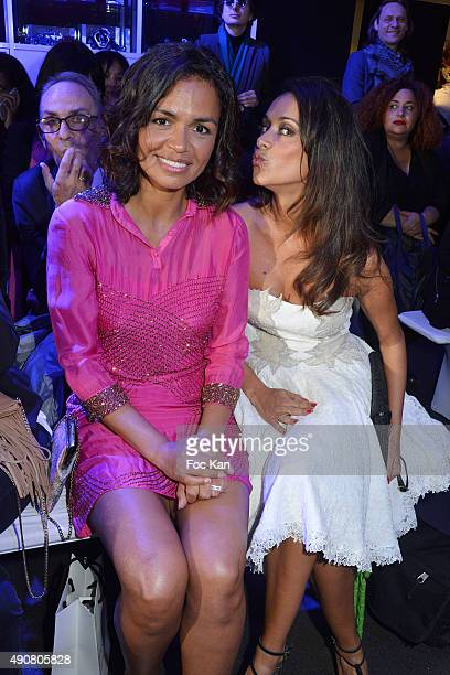 TV presenters Laurence Roustandjee and Karine Lima attend the Christophe Guillarme show as part of the Paris Fashion Week Womenswear Spring/Summer...