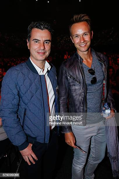 Presenters Laurent Luyat and Cyril Feraud attend the Michel Polnareff New Tour in France at AccorHotels Arena on May 07, 2016 in Paris.