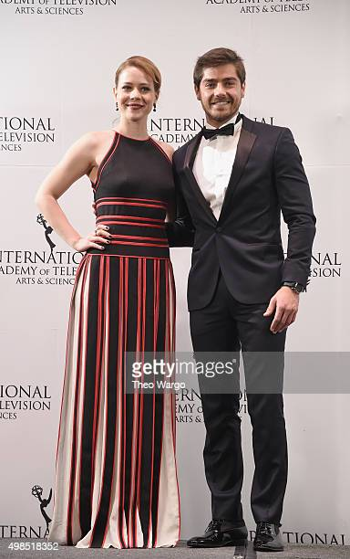 Presenters Leandra Leal and Lourenco Ortigao attend 43rd International Emmy Awards at New York Hilton on November 23 2015 in New York City