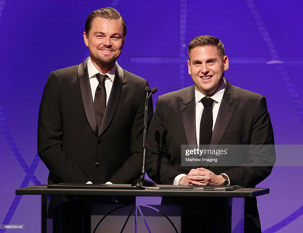 Presenters Leonardo DiCaprio and Jonah Hill at the 18th Annual ADG Awards held at The Beverly Hilton Hotel on February 8, 2014 in Beverly Hills, California.