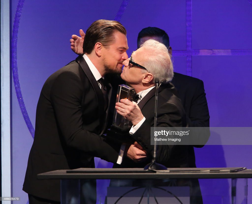 Presenters Leonardo DiCaprio, Jonah Hill and Cinematic Imagery Award Honoree Martin Scorsese at the 18th Annual ADG Awards held at The Beverly Hilton Hotel on February 8, 2014 in Beverly Hills, California.