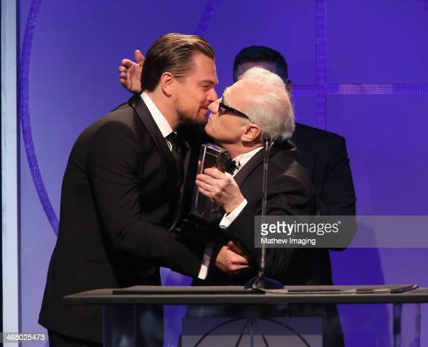 Presenters Leonardo DiCaprio Jonah Hill and Cinematic Imagery Award Honoree Martin Scorsese at the 18th Annual ADG Awards held at The Beverly Hilton...