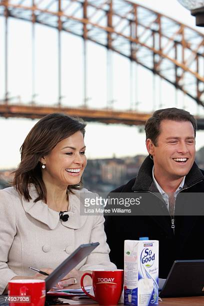 Presenters Lisa Wilkinson and Karl Stefanovic live onair as part of the Today Show 25th birthday celebrations outside the Sydney Opera House on June...