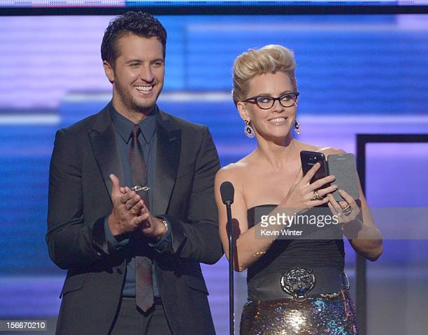 Presenters Luke Bryan and Jenny McCarthy speak onstage during the 40th American Music Awards held at Nokia Theatre LA Live on November 18 2012 in Los...