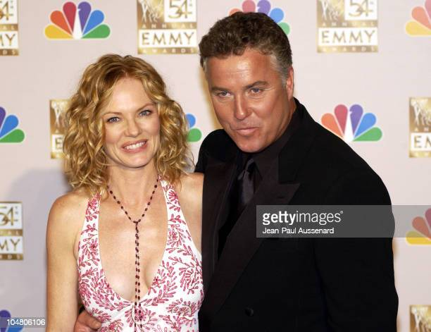 Presenters Marg Helgenberger and William Petersen during The 54th Annual Primetime Emmy Awards Press Room at The Shrine Auditorium in Los Angeles...