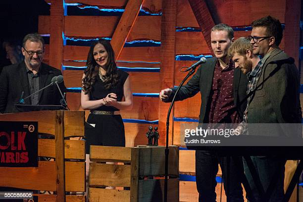 Presenters Mark Radcliffe and Julie Fowlis with The Young 'Uns winners of the award for Best Group at the 16th annual BBC Radio 2 Folk Awards at the...