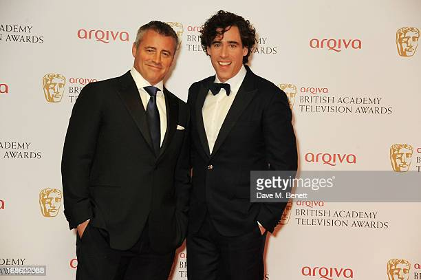 Presenters Matt Leblanc and Stephen Mangan pose in the press room at the Arqiva British Academy Television Awards 2013 at the Royal Festival Hall on...