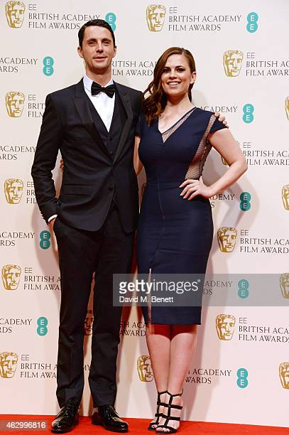 Presenters Matthew Goode and Hayley Atwell pose in the winners room at the EE British Academy Film Awards at The Royal Opera House on February 8 2015...