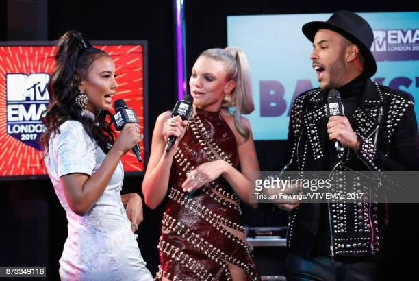 MTV Presenters Maya James and Becca Dudley interview Hugo Gloss backstage during the MTV EMAs 2017 held at The SSE Arena Wembley on November 12 2017...