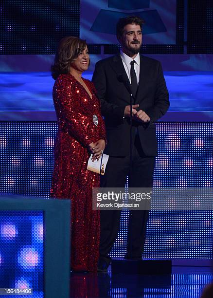 Presenters Milly Quezada and Antonio Orozco speak onstage during the 13th annual Latin GRAMMY Awards held at the Mandalay Bay Events Center on...