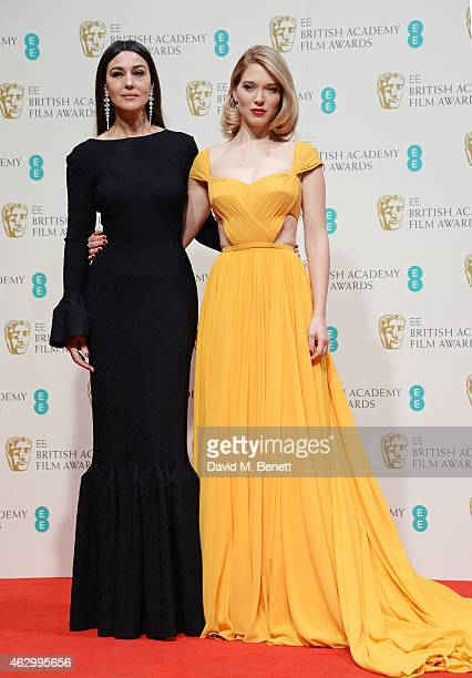 Presenters Monica Bellucci and Lea Seydoux pose in the winners room at the EE British Academy Film Awards at The Royal Opera House on February 8 2015...
