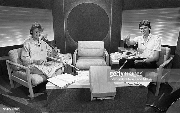 Presenters Moya Doherty and Michael Lyster, in the studio at RTE ready to present Breakfast LA/Daybreak LA on TV. A Breakfast TV Special on the...