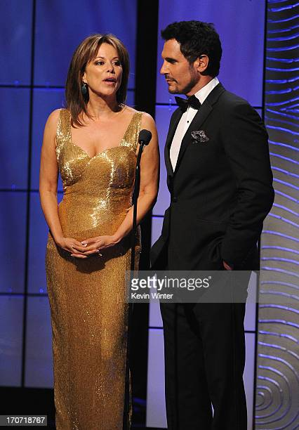 Presenters Nancy Lee Grahn and Don Diamont speak onstage during The 40th Annual Daytime Emmy Awards at The Beverly Hilton Hotel on June 16, 2013 in...