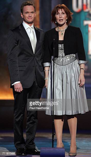 Presenters Neil Patrick Harris and Joanna Gleason onstage at the 60th Annual Tony Awards at Radio City Music Hall June 11 2006 in New York City