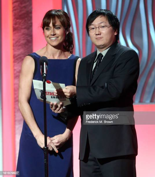 Presenters Nikki DeLoach and Masi Oka speak onstage at the 3rd Annual Streamy Awards at Hollywood Palladium on February 17 2013 in Hollywood...