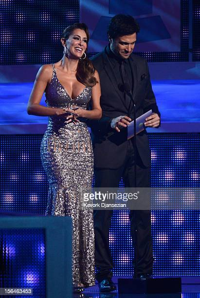 Presenters Ninel Conde and Jaime Camil speak onstage during the 13th annual Latin GRAMMY Awards held at the Mandalay Bay Events Center on November 15...