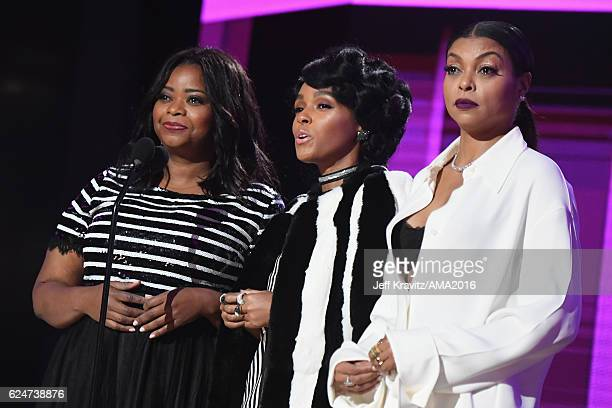 Presenters Octavia Spencer, Janelle Monae and Taraji P. Henson onstage at the 2016 American Music Awards at Microsoft Theater on November 20, 2016 in...