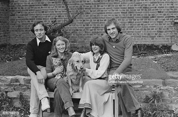 Presenters of the children's television series Blue Peter posed together in the garden at BBC Television Centre in London on 3rd April 1979 From left...