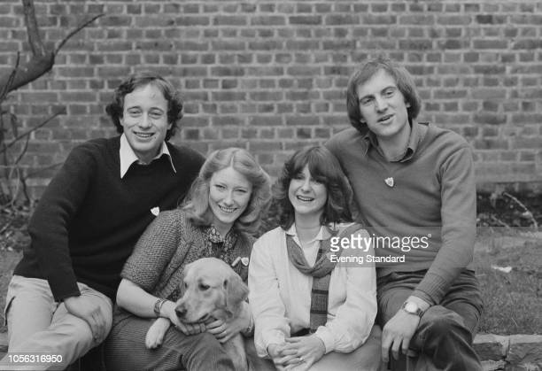 Presenters of the children's television series Blue Peter together in the garden at BBC Television Centre in London on 3rd April 1979 from left to...