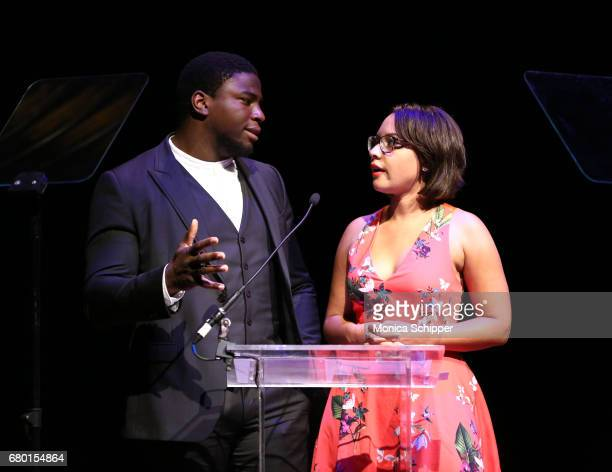 Presenters Okieriete Onaodowan and Jasmine Cephas Jones speak on stage during 32nd Annual Lucille Lortel Awards at NYU Skirball Center on May 7 2017...