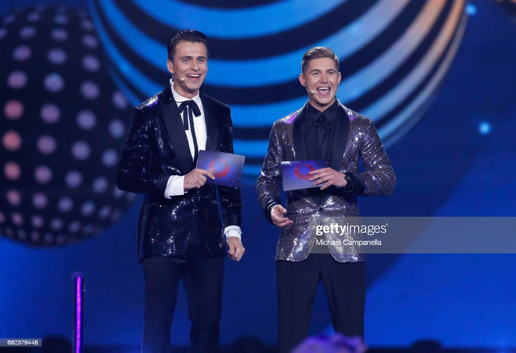 Presenters Oleksandr Skichko and Volodymyr Ostapchuk speak on stage during the rehearsal for the final of the 62nd Eurovision Song Contest at International Exhibition Centre (IEC) on May 12, 2017 in Kiev, Ukraine. The final of this years Eurovision Song Contest will be aired on May 13, 2017.