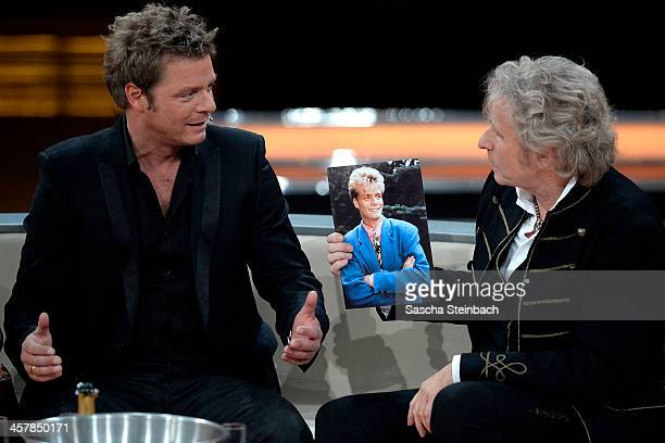 Presenters Oliver Geissen and Thomas Gottschalk attend the taping of the anniversary show '30 Jahre RTL Die grosse Jubilaeumsshow mit Thomas...
