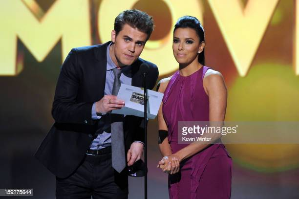 Presenters Paul Wesley and Eva Longoria onstage at the 18th Annual Critics' Choice Movie Awards held at Barker Hangar on January 10 2013 in Santa...