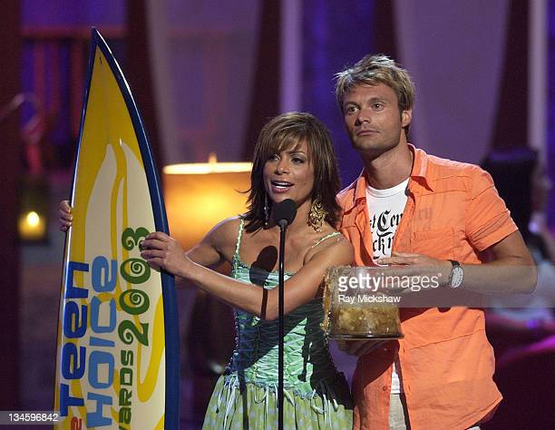 Presenters Paula Abdul and Ryan Seacrest during 2003 Teen Choice Awards Show at Universal Amphitheatre in Universal City California United States
