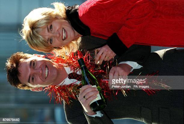 TV Presenters phillip schofield and Anthea Turner share a drink during a photocall in London today to launch Happy New Year Live from Edinburgh's...