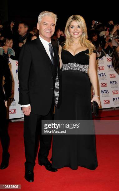 TV presenters Phillip Schofield and Holly Willoughby attend the The National Television Awards at the O2 Arena on January 26 2011 in London England