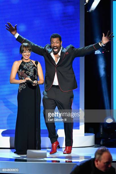 Presenters Rashida Jones and actor Deon Cole onstage at the 48th NAACP Image Awards at Pasadena Civic Auditorium on February 11 2017 in Pasadena...