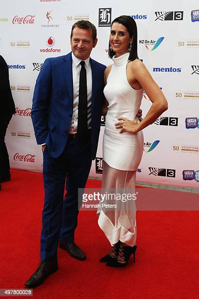 TVNZ presenters Rawdon Christie and Nadine ChalmersRoss pose for a photo on the red carpet at the Vodafone New Zealand Music Awards at Vector Arena...
