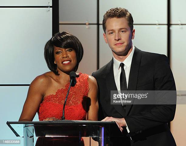 Presenters Regina King and Josh Dallas speak onstage during The Broadcast Television Journalists Association Second Annual Critics' Choice Awards at...