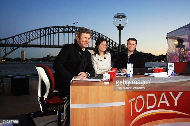 Presenters Richard Wilkins Lisa Wilkinson and Karl Stefanovic present live onair as part of the Today Show 25th birthday celebrations outside the...