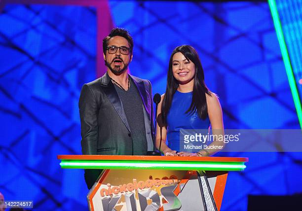 Presenters Robert Downey Jr and Miranda Cosgrove speak onstage at Nickelodeon's 25th Annual Kids' Choice Awards held at Galen Center on March 31 2012...