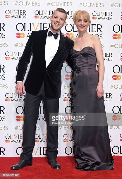 Presenters Russell Tovey and AnneMarie Duff pose in the winners room at The Olivier Awards at The Royal Opera House on April 12 2015 in London England
