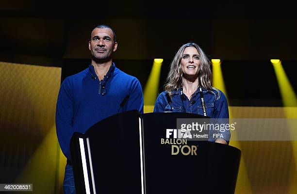 Presenters Ruud Gullit and Fernanda Lima run through a rehearsal prior to the FIFA Ballon d'Or Gala 2013 at the Kongresshaus on January 12 2014 in...