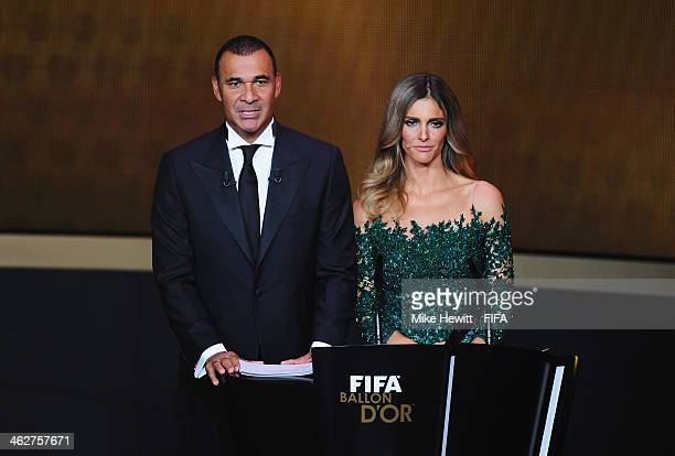 Presenters Ruud Gullit and Fernanda Lima talk on stage during the FIFA Ballon d'Or Gala 2013 at the Kongresshaus on January 13 2014 in Zurich...