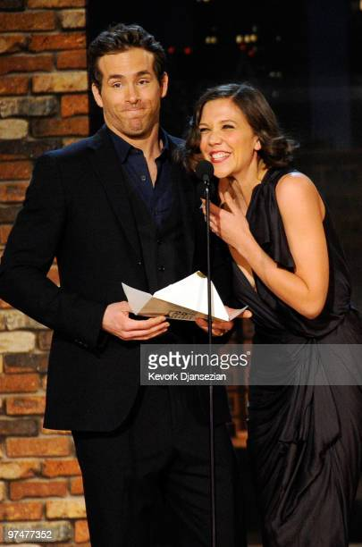 Presenters Ryan Reynolds and Maggie Gyllenhaal onstage during the 25th Film Independent's Spirit Awards held at Nokia Event Deck at LA Live on March...