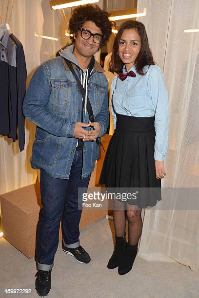 TV presenters Sebastien Folin and Laurence Roustandjee attend the 'Espace Basus' Opening Party at Au Pied Du Perchoir on December 4 2014 in Paris...