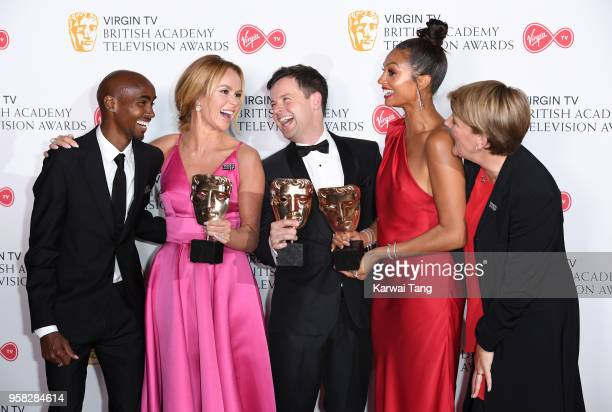 Presenters Sir Mo Farah and Clare Balding with Amanda Holden Declan Donnelly and Alesha Dixon who won the award for Entertainment Programme for...