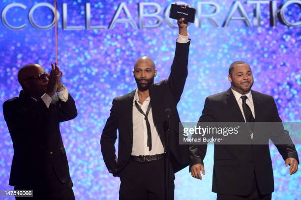 Presenters Slaughterhouse speak onstage during the 2012 BET Awards at The Shrine Auditorium on July 1 2012 in Los Angeles California