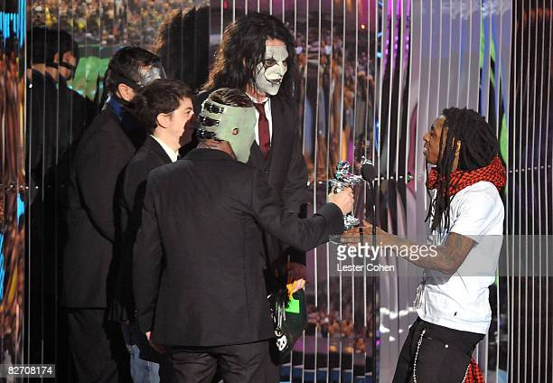 Presenters Slipknot and rapper Lil Wayne on stage at the 2008 MTV Video Music Awards at Paramount Pictures Studios on September 7 2008 in Los Angeles...