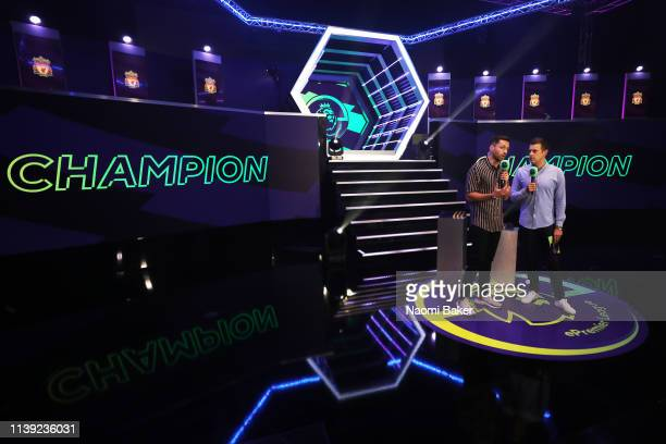 Presenters Spencer Owen and Adam Smith during day 2 of the ePremier League Finals 2019 at Gfinity Arena on March 29 2019 in London England