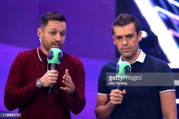Presenters Spencer Owen and Adam Smith during day one of the 2019 ePremier League Finals at Gfinity Arena on March 28 2019 in London England
