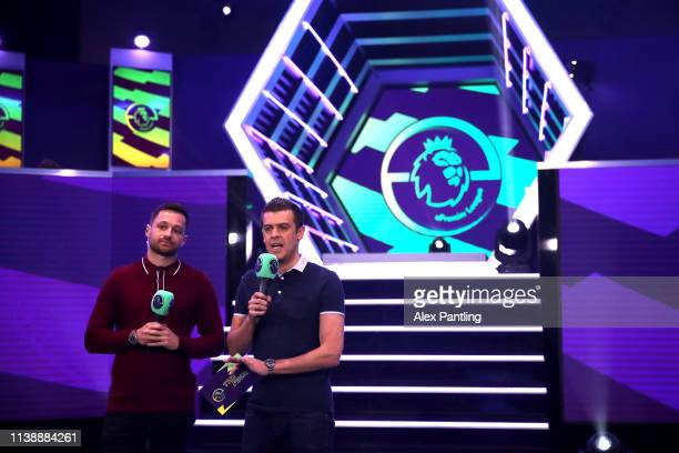 Presenters Spencer Own and Adam Smith during day one of the 2019 ePremier League Finals at Gfinity Arena on March 28 2019 in London England