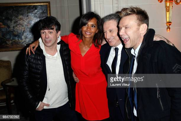 Presenters Stephane Plaza Karine Le Marchand Michel Drucker and guest attend ' Les Stethos D'Or 2018' Gala at Four Seasons Hotel George V on March 19...